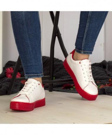 Pantofi Sport De Dama Follis Alb Cu Rosu - Trendmall.ro