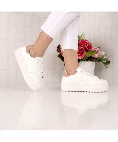 Pantofi Sport De Dama Perlea Alb Cu Roz - Trendmall.ro