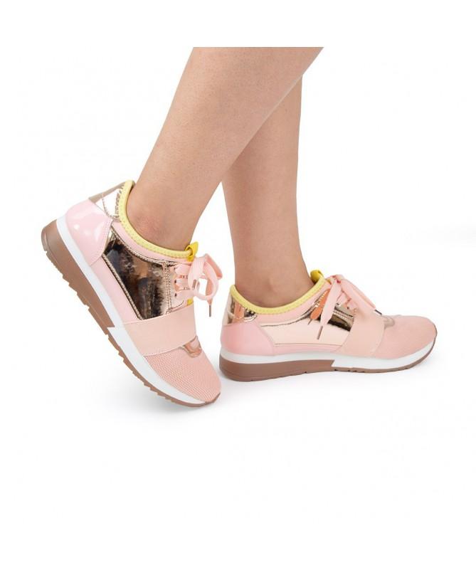 Pantofi Sport Millis De Dama Roz Cu Auriu - Trendmall.ro
