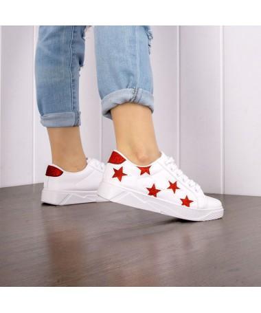 Pantofi Sport De Dama Helsa Alb Cu Rosu - Trendmall.ro