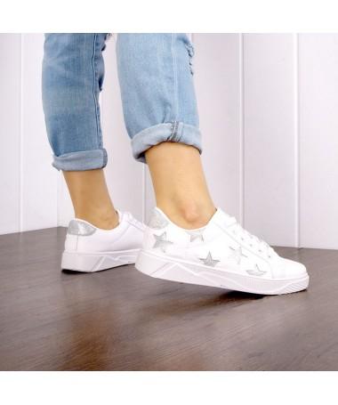 Pantofi Sport De Dama Helsa Alb Cu Gri - Trendmall.ro