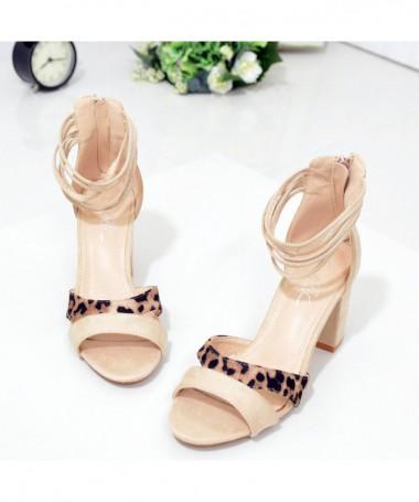 Sandale Cu Toc De Dama Esrela Beige - Trendmall.ro
