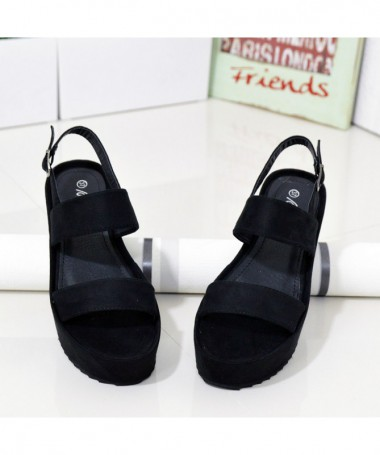 Sandale Cu Platofrma De Dama Tapa Negre - Trendmall.ro