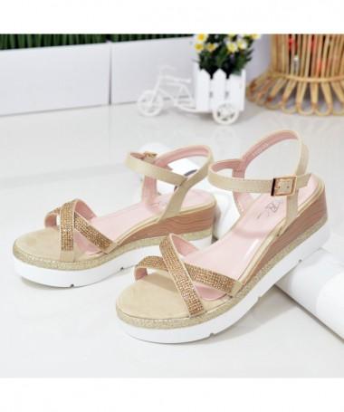 Sandale Cu Platforma De Dama Clopo Bej - Trendmall.ro
