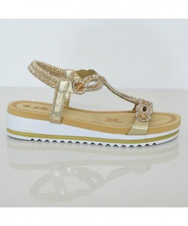 Sandale Cu Talpa Joasa De Dama Coor Auri - Trendmall.ro