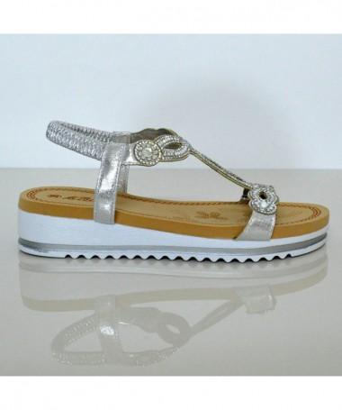 Sandale Cu Talpa Joasa De Dama Coor Argintii - Trendmall.ro