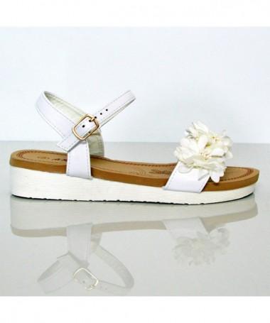 Sandale Cu Talpa Joasa De Dama Cu Flori Albe - Trendmall.ro