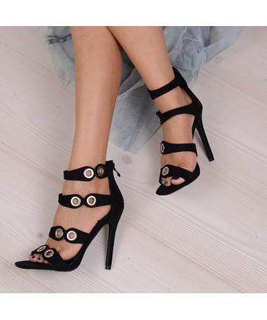 Sandale De Dama Cu Toc Point Negre - Trendmall.ro