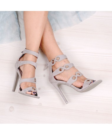 Sandale De Dama Cu Toc Point Gri Deschis - Trendmall.ro