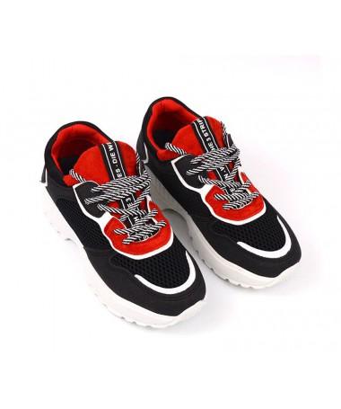 Pantofi Sport De Dama Aztec Negru Cu Rosu - Trendmall.ro