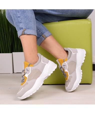 Pantofi Sport De Dama Aztec Galben Cu Gri - Trendmall.ro