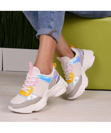 Pantofi Sport De Dama Nower Albi Cu Roz - Trendmall.ro