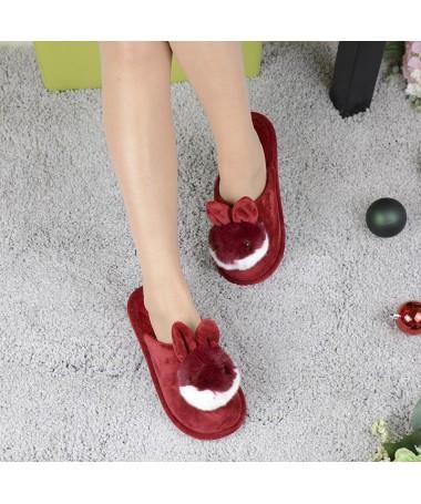 Papuci De Dama Rabbit Rosii - Trendmall.ro
