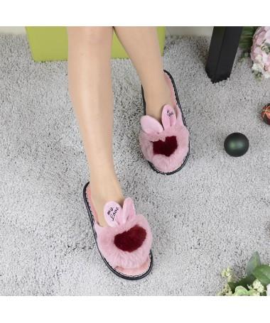 Papuci De Dama Rabbit Piersica - Trendmall.ro