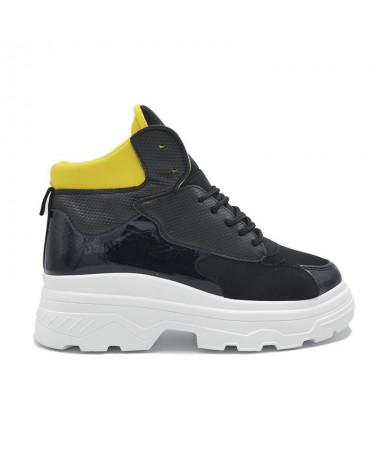 Pantofi Sport De Dama Asadar Negru Cu Galben - Trendmall.ro